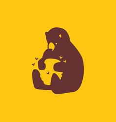 Honey bear hive bee logo icon vector