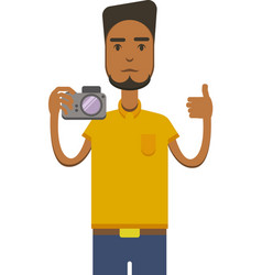 Image of africo american man with camera vector