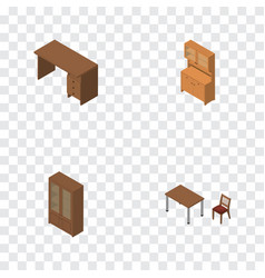 Isometric furniture set of cabinet chair vector