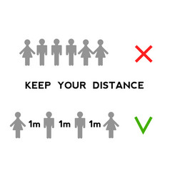 keep your distance when you meet safety when vector image