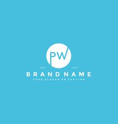 Letter pw logo design vector