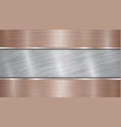 Metal background with polished plate vector