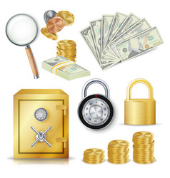 Money secure concept gold metal coins vector