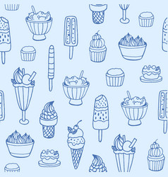 monochrome seamless pattern with delicious ice vector image
