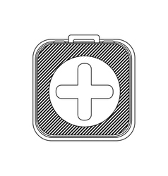 Monochrome silhouette kit first aid in box icon vector
