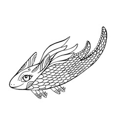 mythical funny dragon fantasy coloring page for vector image