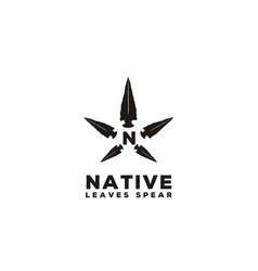 native spear arrowhead star cannabis hemp cbd logo vector image