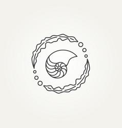 Nautilus and seaweed circle line art icon logo vector