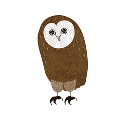 Owl Cute cartoon character hand-drawn grunge vector