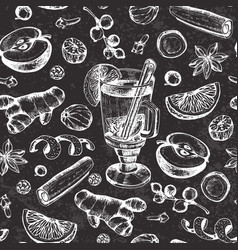 Pattern with mulled wine and spices vector