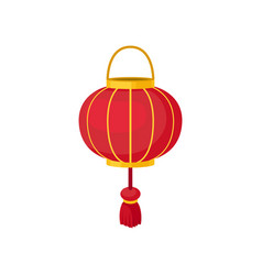 red chinese lantern of round shape decorative vector image
