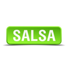 Salsa green 3d realistic square isolated button vector
