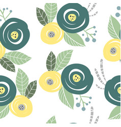 Seamless pattern with abstract flowers and leave vector
