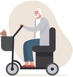 Senior man driving electric mobility scoot vector