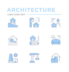 set color line icons architectural vector image