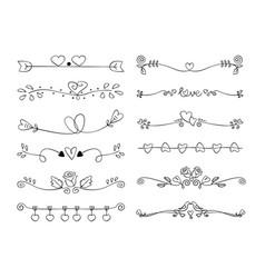 Set heart decorative caligraphic handmade vector