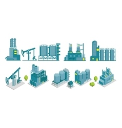 Set of isometric end 2D factory oil vector image