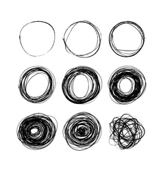 Set of nine hand drawn scribble circles on white vector