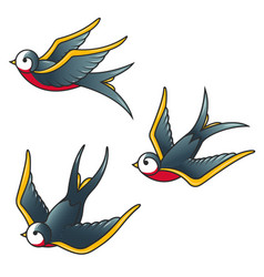 Set of the swallow icons design elements for vector