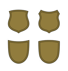 shield shape gold icons set simple silhouette vector image