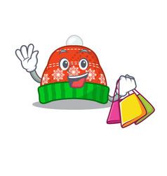 Shopping winter hat in mascot shape vector