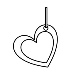 Silhouette double love heart figure hanging for vector