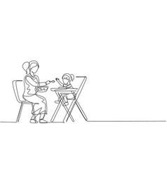 single continuous line drawing young mom feeding vector image