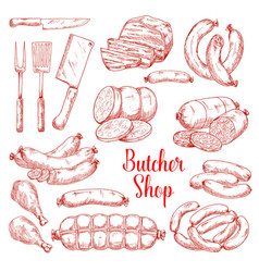 Sketch icons of butchery meat products vector