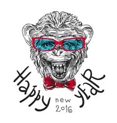 Sketch portret monkey vector