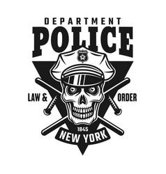 skull of policeman emblem or shirt print vector image