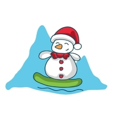Snowman surfing character christmas theme vector