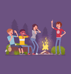 Spooky story near campfire vector