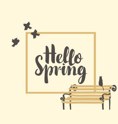 Spring banner with inscription and bench with cat vector