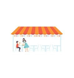 street cafe or fast food bar under canopy vector image