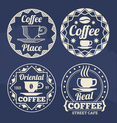 Stylish coffee labels design for cafe shop vector