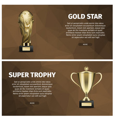 super trophy and gold star web banners vector image