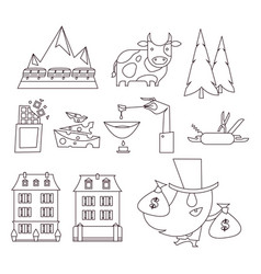 switzerland a flat modern icon set vector image
