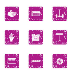 Technological intervention icons set grunge style vector