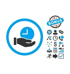 Time Service Flat Icon with Bonus vector image