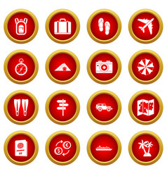 Travel icon red circle set vector