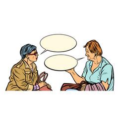Two older ladies talking vector