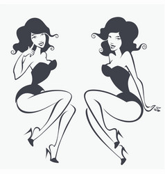 Two pin up girls vector