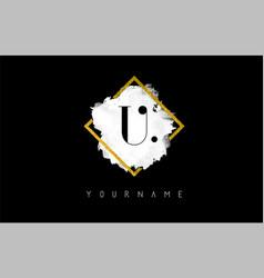 U letter logo design with white stroke and golden vector