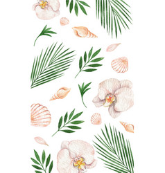 Watercolor card with tropical leaves vector
