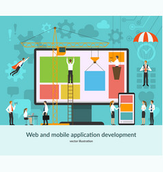 web and mobile application development concept vector image