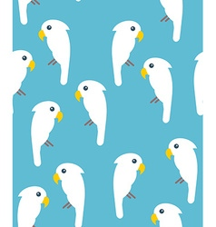 White cockatoo birds seamless pattern on blue vector