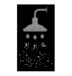 white sparkle dot halftone shower icon vector image