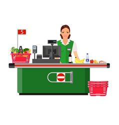 woman cashier smiles buyer near the cash register vector image