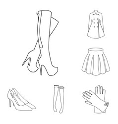 Women s clothing outline icons in set collection vector
