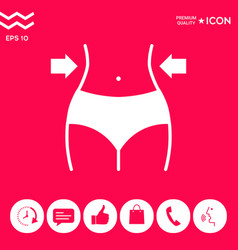 women waist weight loss diet waistline icon vector image